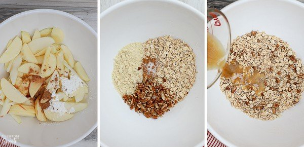 Ingredients in a white bowl for a healthy apple crisp