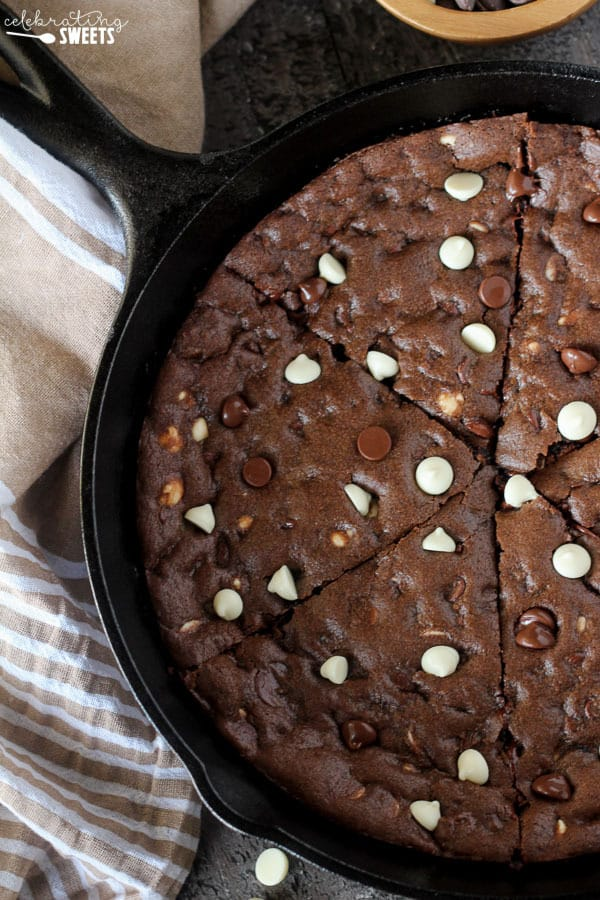Chocolate skillet cookie.
