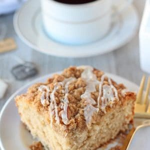 Slice of crumb cake.