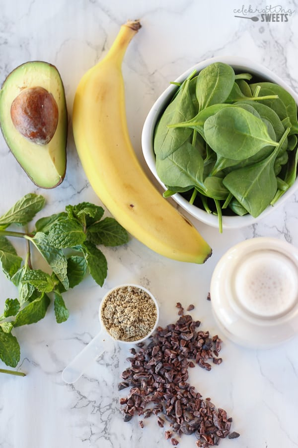 Banana, Spinach, Mint, Avocado, Milk, Chocolate Chips - Ingredients for a Mint Chip Smoothie.