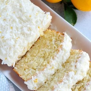 Slice of lemon coconut loaf cake.