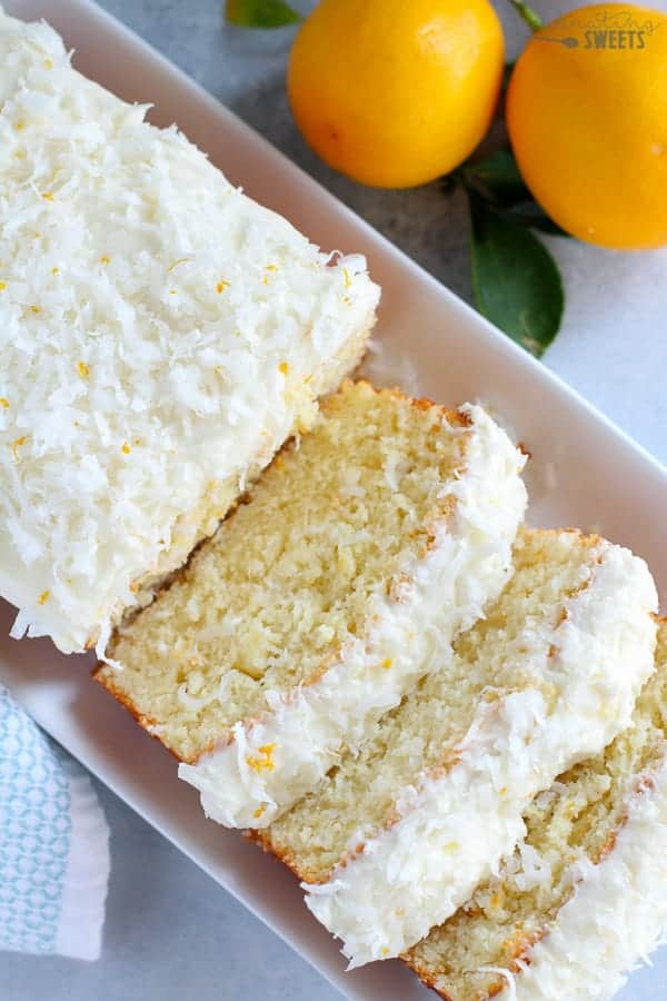 Lemon Coconut Loaf Cake with Cream Cheese Frosting.