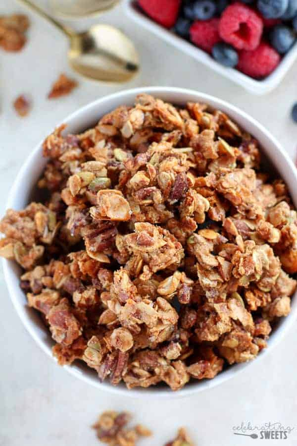 Grain Free Paleo Granola - A low-carb, grain-free Paleo granola filled with nuts, seeds, coconut and honey. Sweet, salty, crunchy and satisfying. You won't be able to stop eating this!