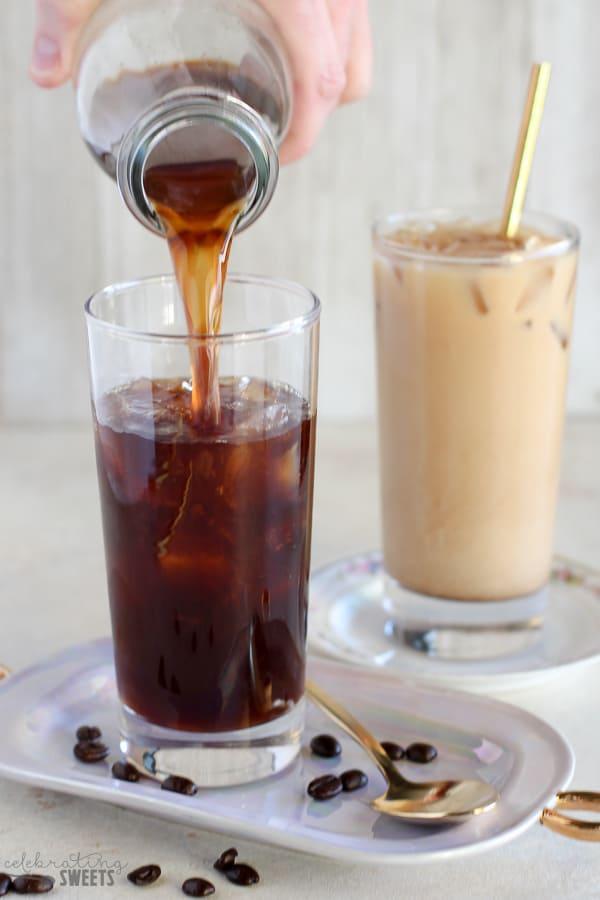 Vanilla Cold Brew Coffee poured into a glass