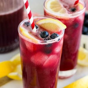 A close up of Blueberry Lemonade in a glass.