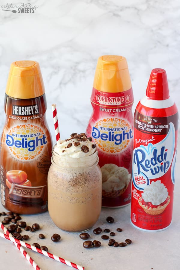 Coffee creamer, whipped cream and an Espresso Frappe.