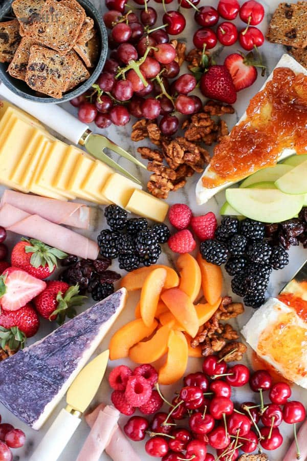 Cheese Board with Fruit and Crackers