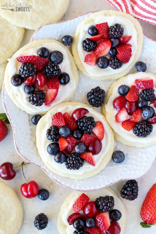 Sugar Cookie Fruit Tarts on a White Plate.