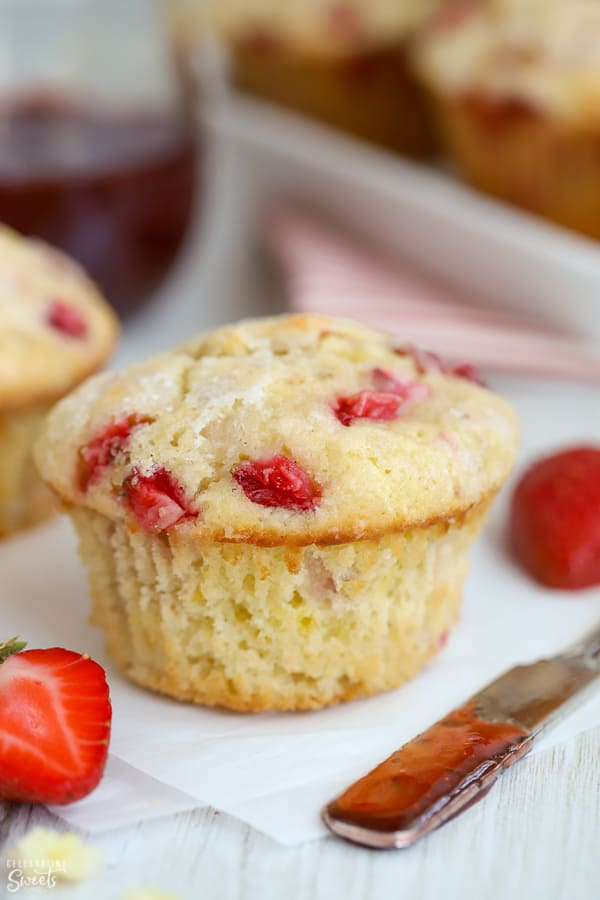 Strawberry Muffin on white parchment paper.