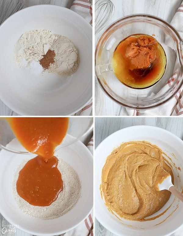 Healthy pumpkin bread batter in a large bowl.