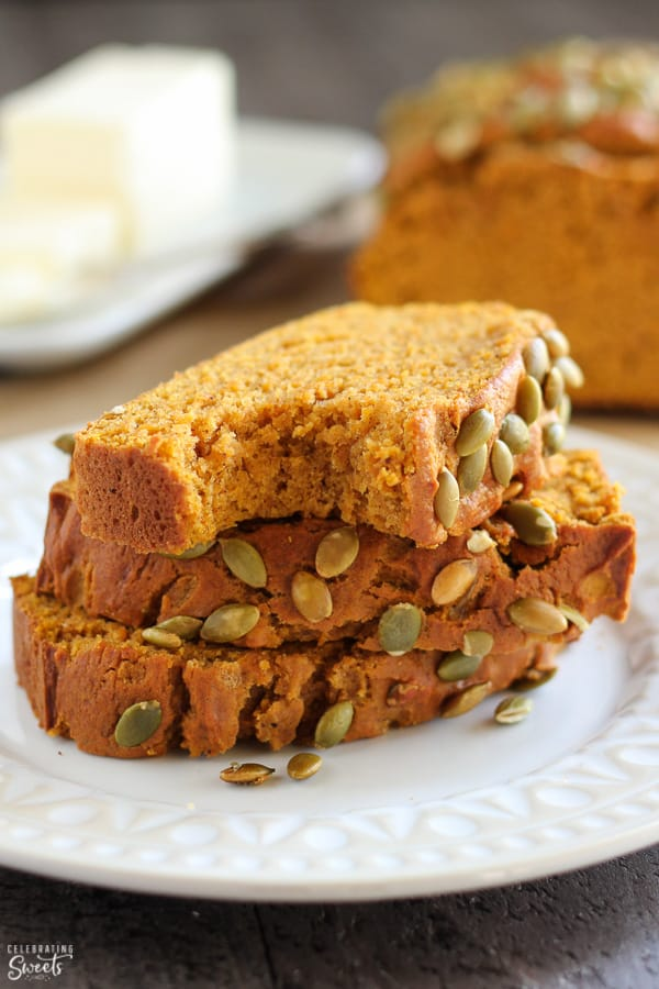 Slices of healthy pumpkin bread on a white plate.