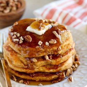 Stack of sweet potato pancakes