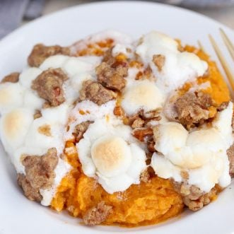 Sweet Potato Casserole on a White Plate.
