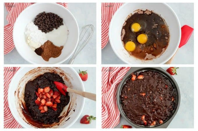 Steps for making strawberry brownies.