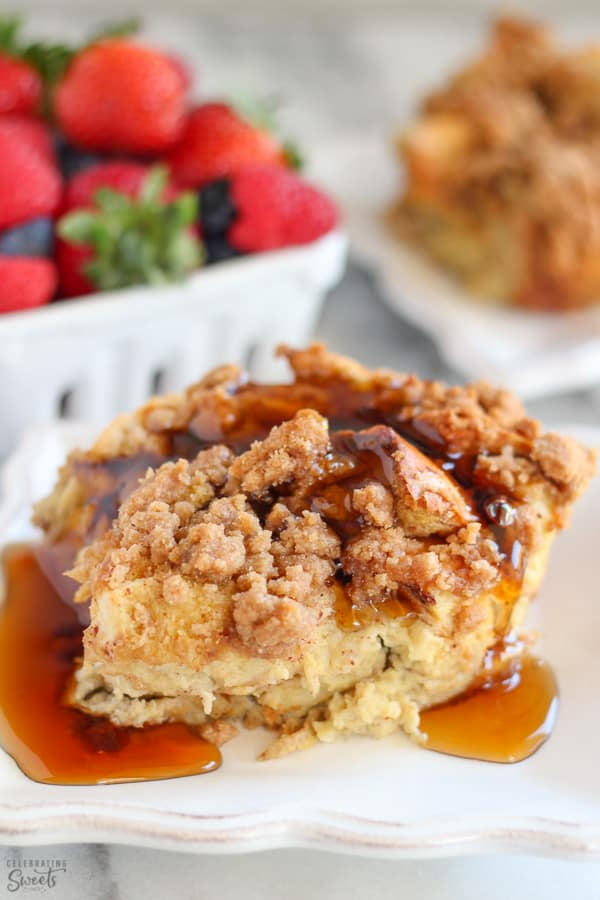Baked french toast on a plate