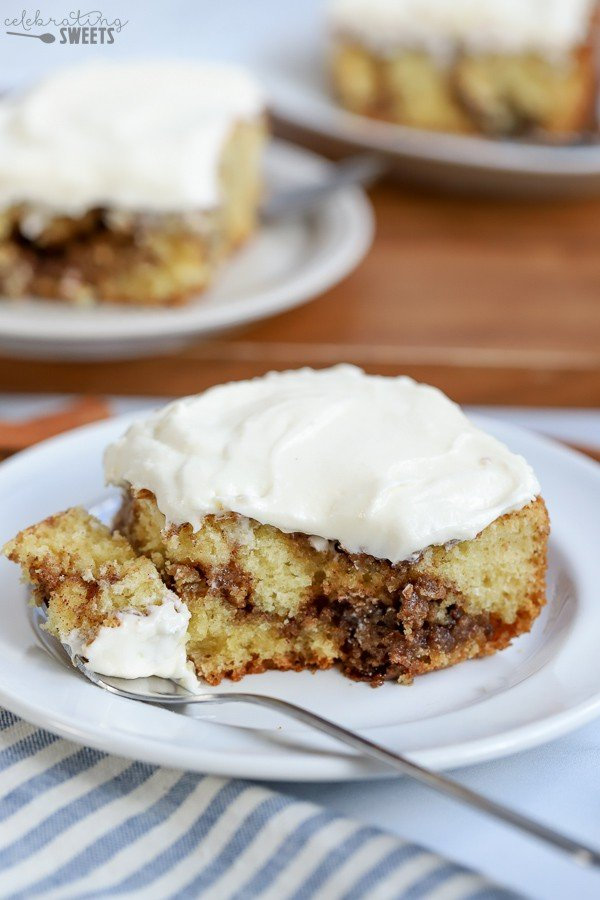 Cinnamon Roll Cake on a white plate