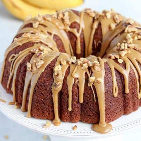 Banana Cake on a white platter,