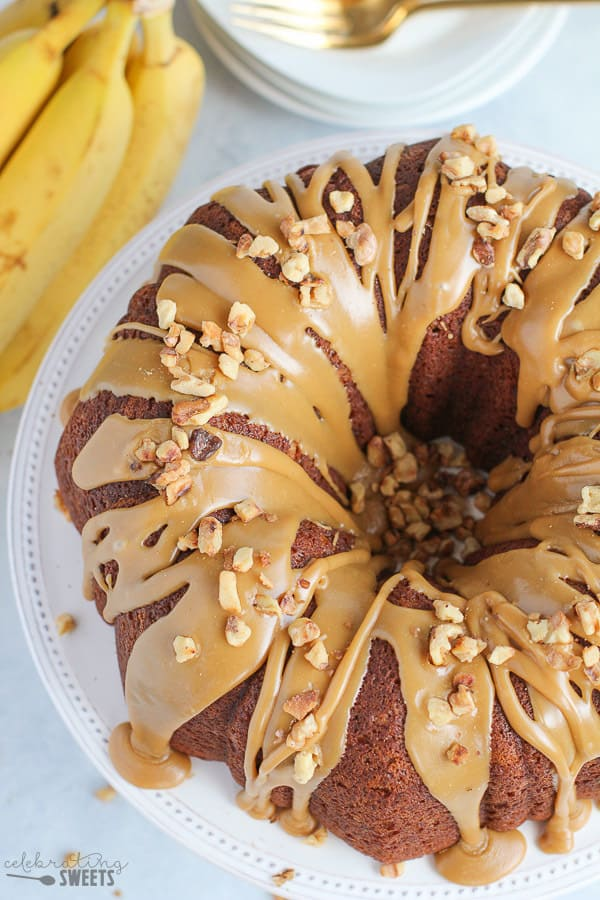 Banana Bundt Cake topped with Brown Sugar Glaze and Walnuts