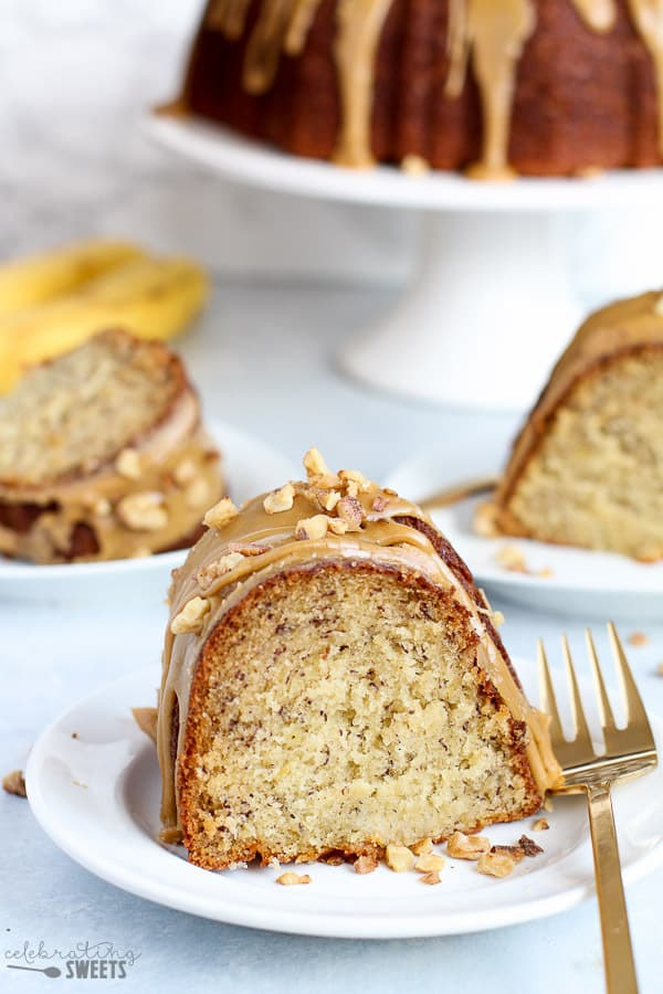 Slice of banana cake.