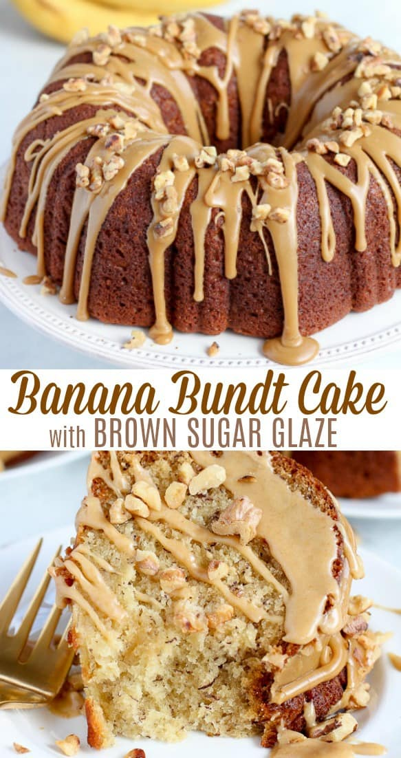 The absolute BEST Banana Bundt Cake - Thick and soft banana cake, with a tender buttery crumb, topped with a decadent Brown Sugar Glaze. #bananacake #cake #bananas #bundtcake #glaze #banana