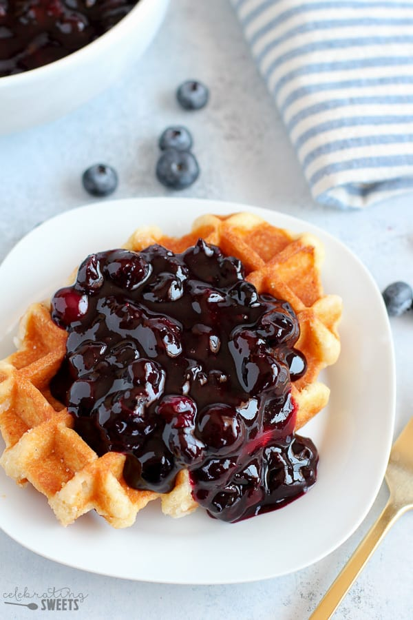 Blueberry Sauce on a Waffle