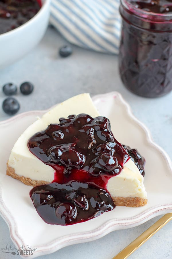 Blueberry Sauce on Cheesecake