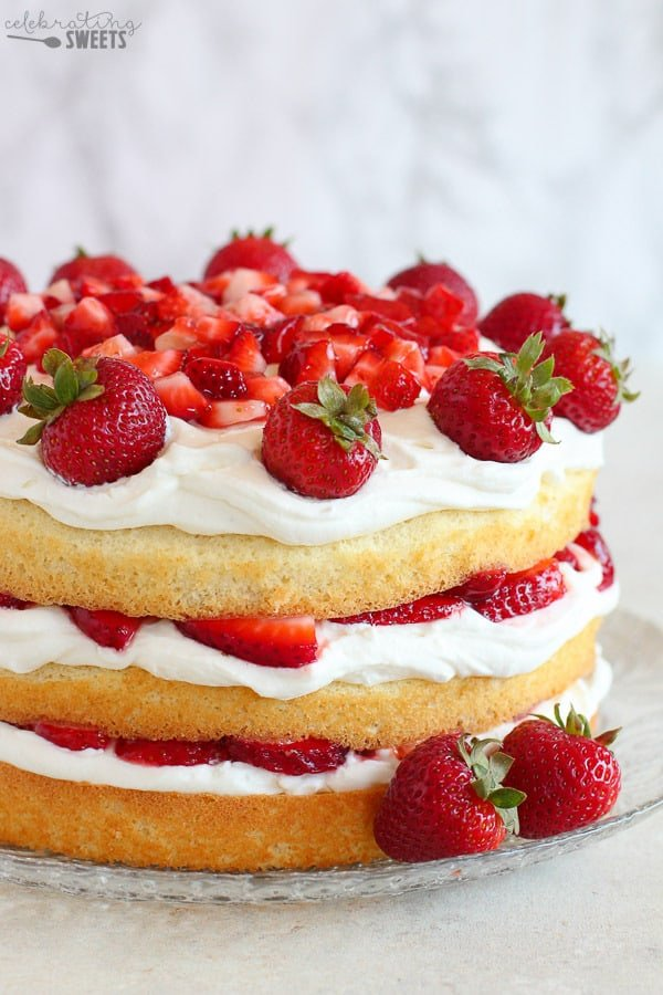 Three layer strawberry cake.