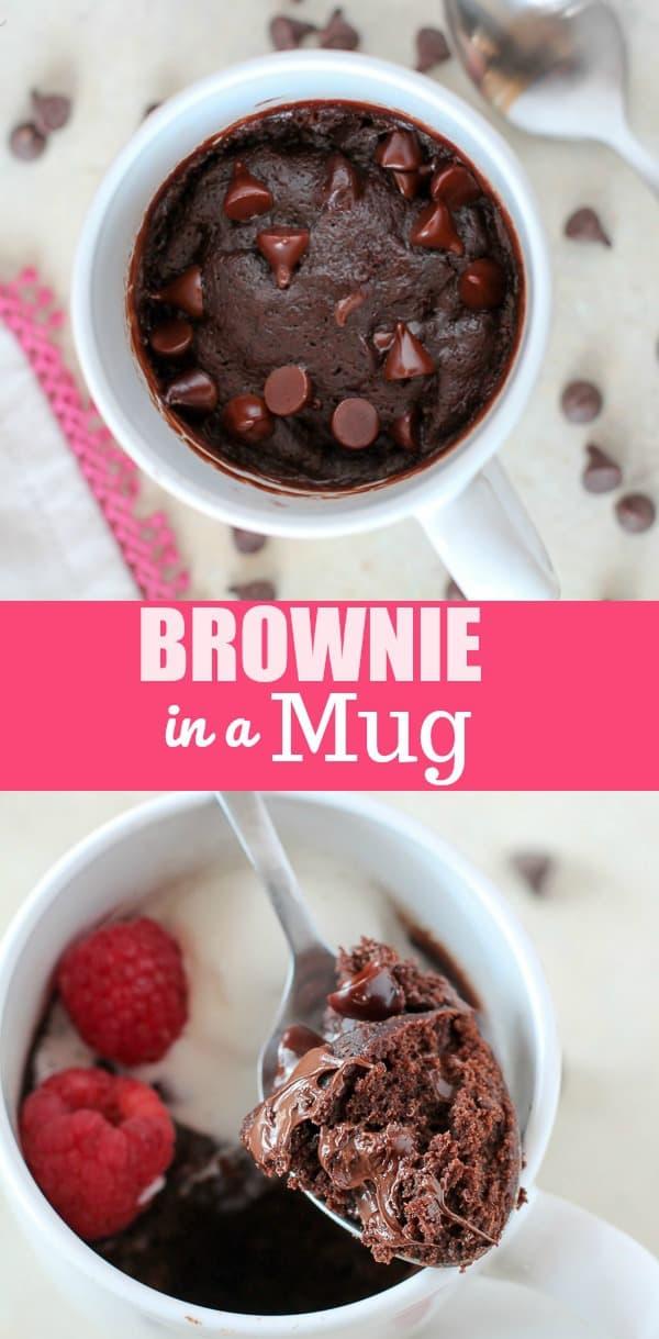 BROWNIE IN A MUG -Satisfy your brownie craving in minutes with this fudgy and delicious Brownie in a Mug.Grab a spoon and dig in! #brownieinamug #brownie #brownies #chocolate #easyrecipe