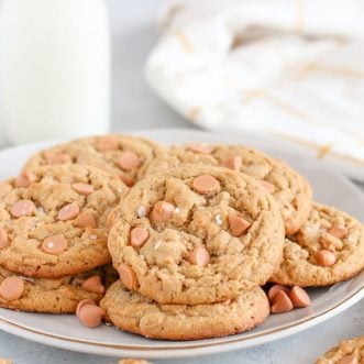 Peanut Butter Butterscotch Cookies on a white plate.
