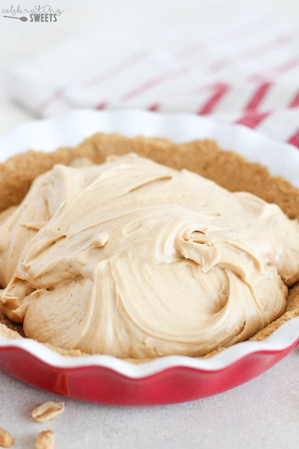 Peanut butter filling in a graham cracker pie crust.