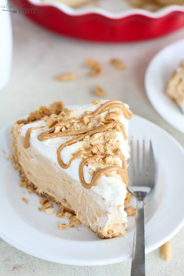 Slice of peanut butter pie drizzled with peanut butter.