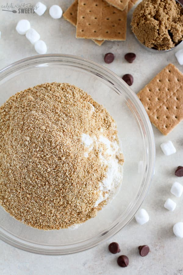 Crushed graham crackers in a bowl