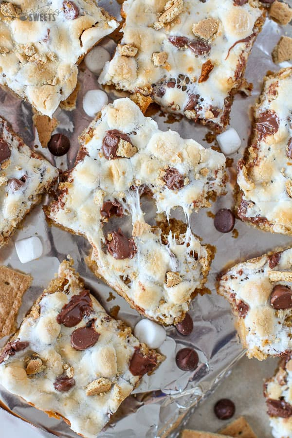 S'mores Bars with gooey marshmallows