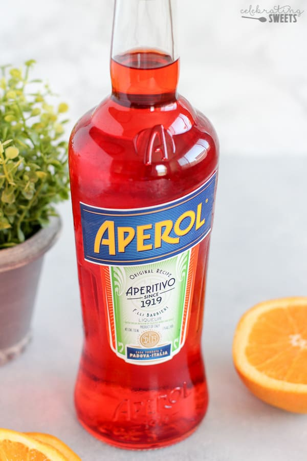 A bottle of Aperol.
