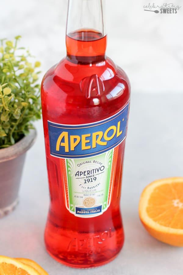 A bottle of Aperol.