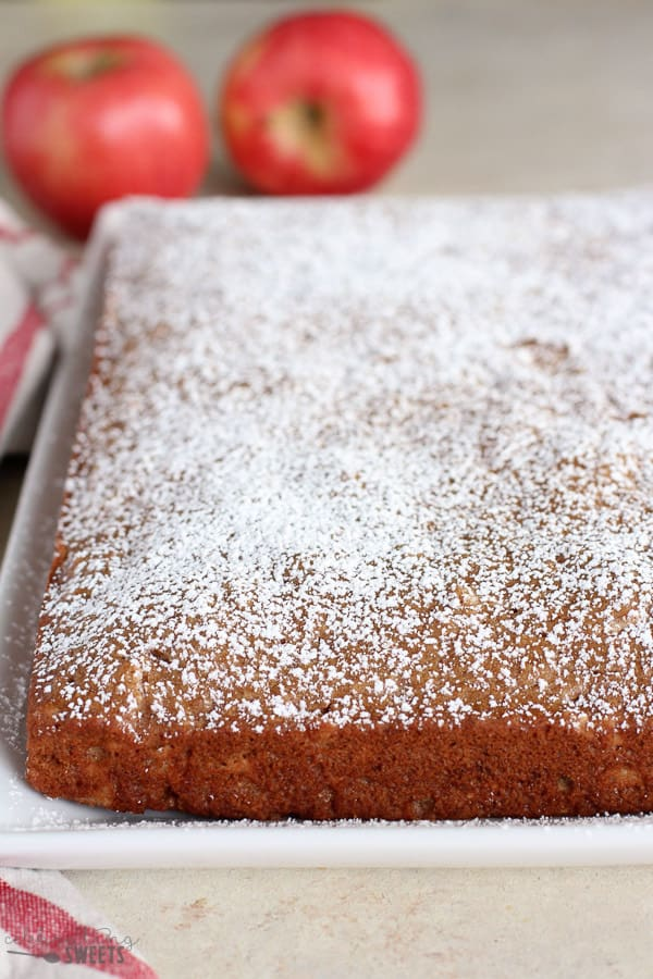 Applesauce Cake dusted with powdered sugar.