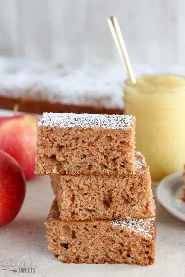 Stack of slices of Applesauce Cake