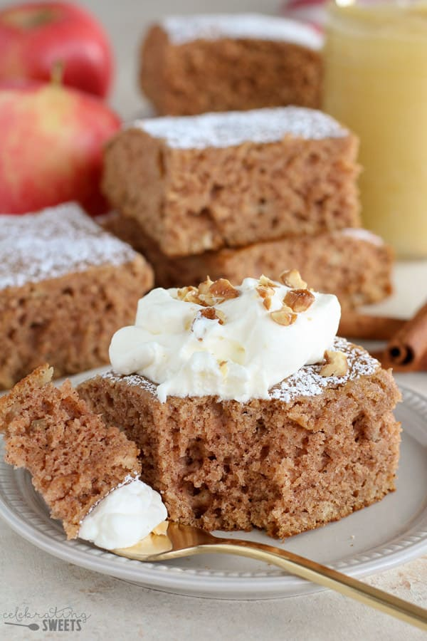 Applesauce Cake topped with whipped cream.
