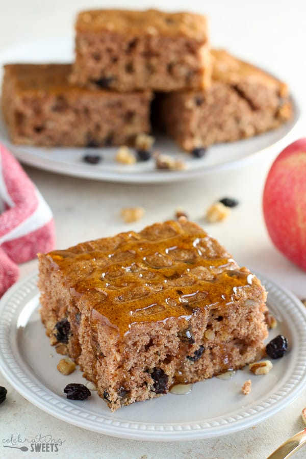 Applesauce Cake topped with honey.