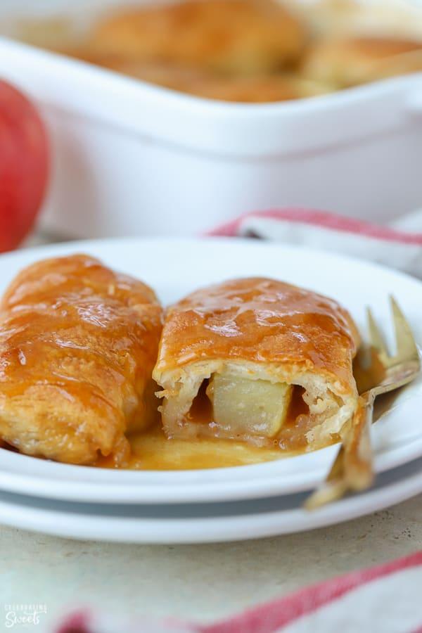 Apple dumplings on a white plate.