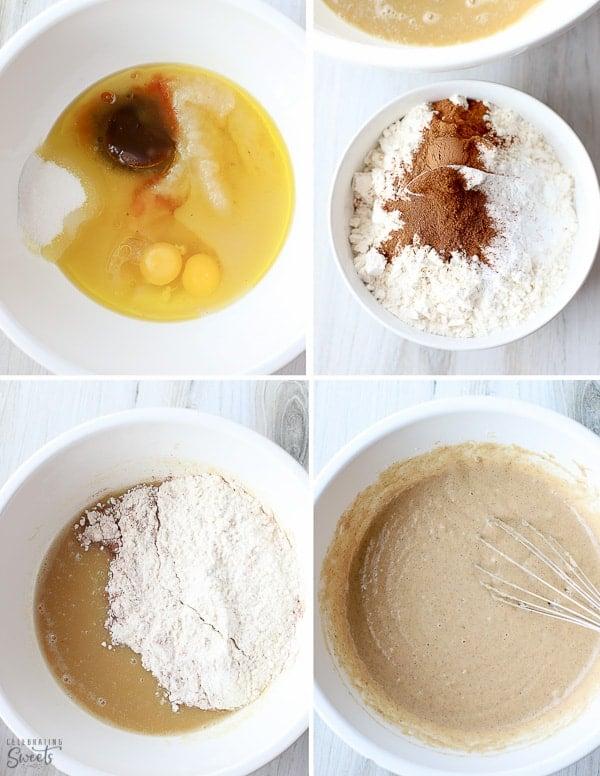 Applesauce cake batter in a white bowl.