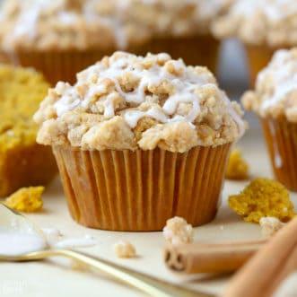 Pumpkin muffins on parchment paper