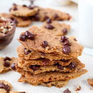 Stack of Chocolate Chip Cookie Brittle