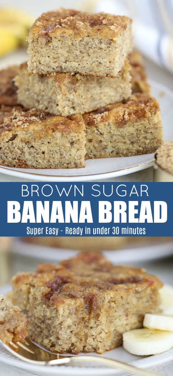 This Easy Banana Bread Recipe is the absolute BEST! Moist, loaded with bananas, sweetened with brown sugar and baked in a cake pan for even and quick cooking. #bananabread #bananas #easyrecipe #baking #bread