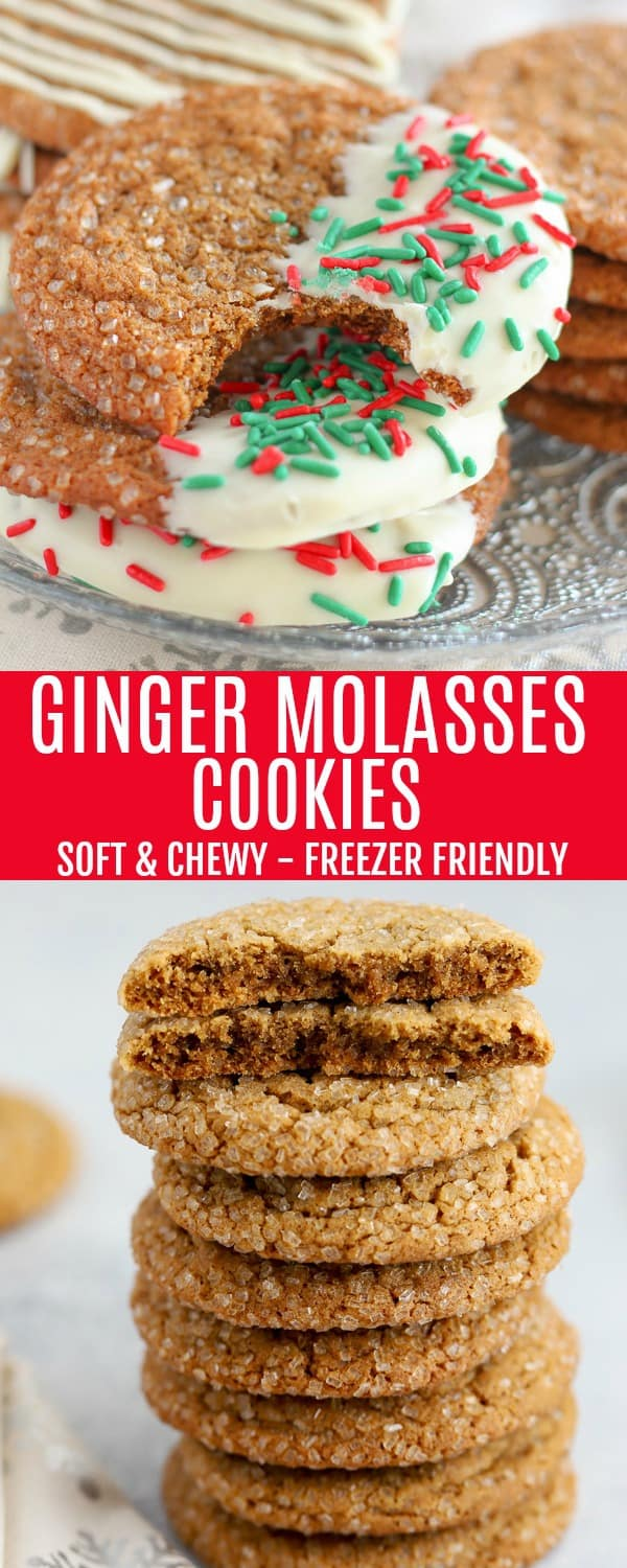 CHEWY GINGER MOLASSES COOKIES - Soft and chewy and perfectly spiced. Make ahead and freeze for the holidays! #molasses #cookies #gingerbread #christmascookies #holidaybaking
