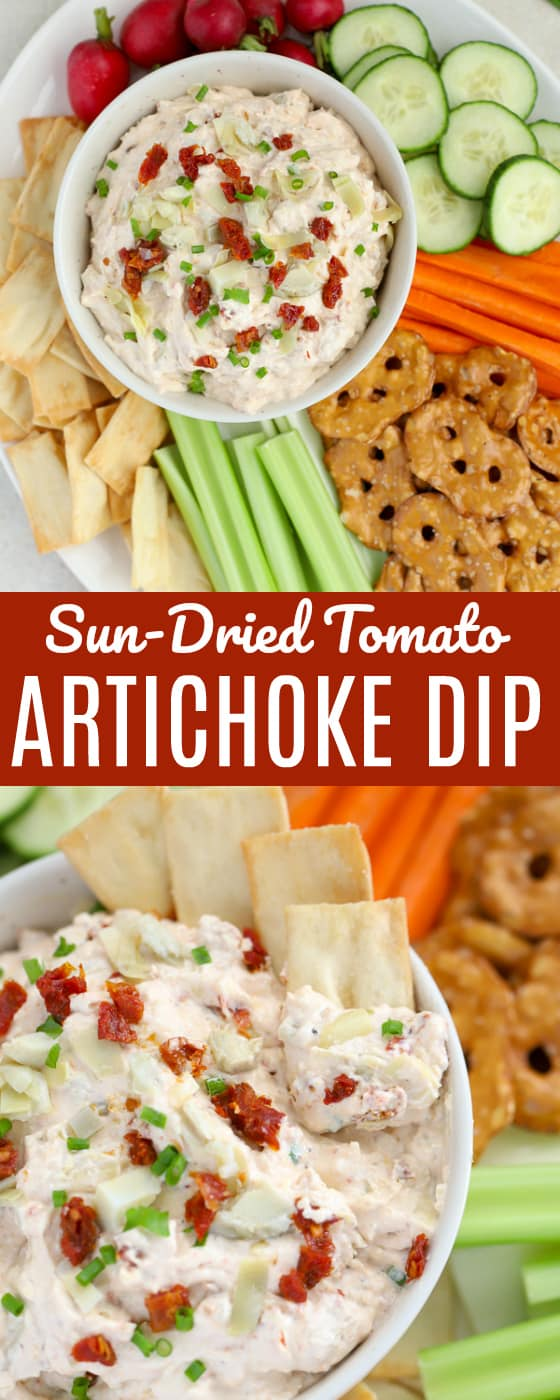 SUN DRIED TOMATO & ARTICHOKE DIP - This simple Artichoke Dip is an absolute crowd pleaser! A cream cheese and sour cream base filled with artichokes, sun dried tomatoes and just the right amount of seasonings. #artichokedip #artichokes #sundriedtomatoes #appetizer #diprecipe