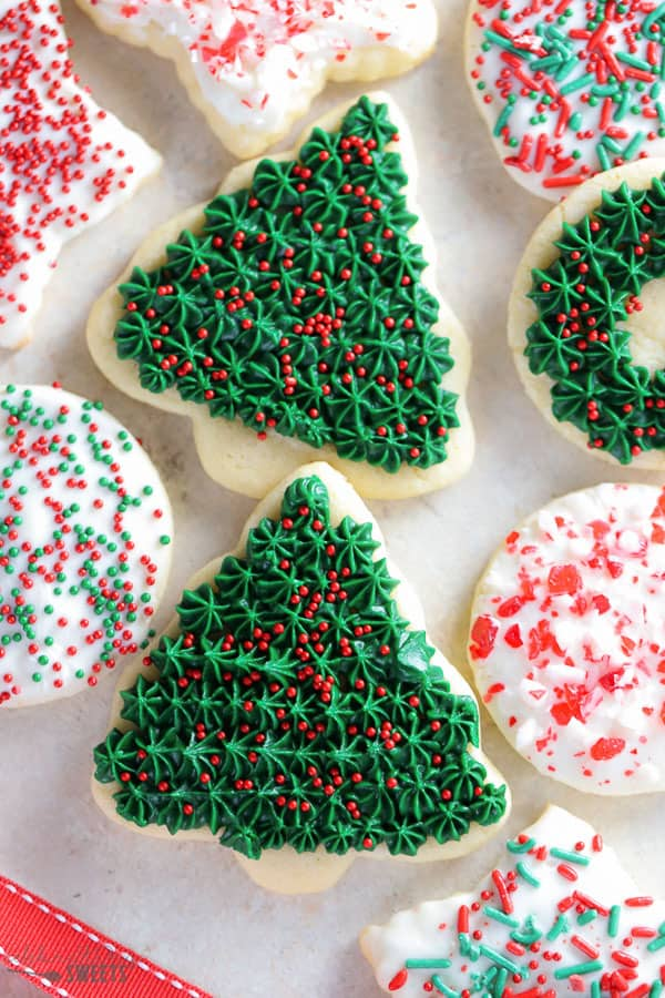 Christmas cookies with red sprinkles.