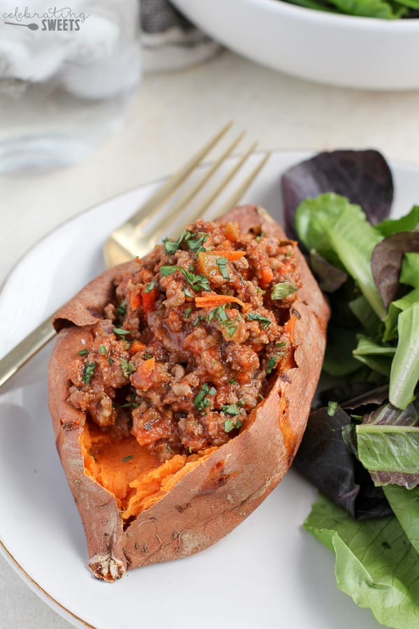 Baked Sweet Potato filled with Sloppy Joe meat.