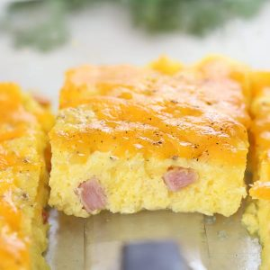 Egg casserole with ham.