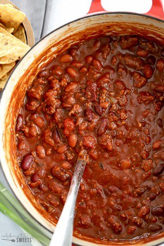 Beef chili in a pot.